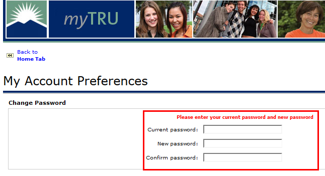Fill out all 3 password change fields