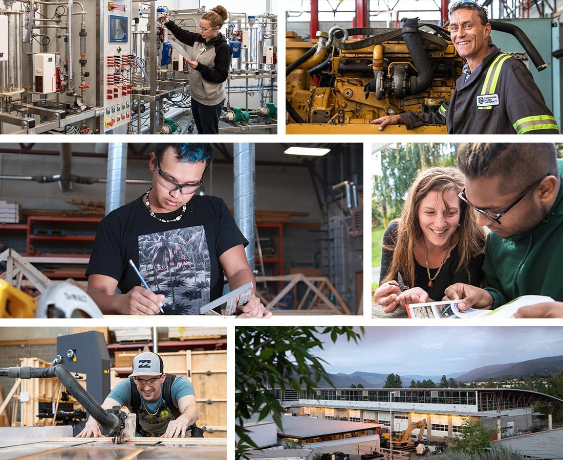 Montage of trades students, instructors, and locations