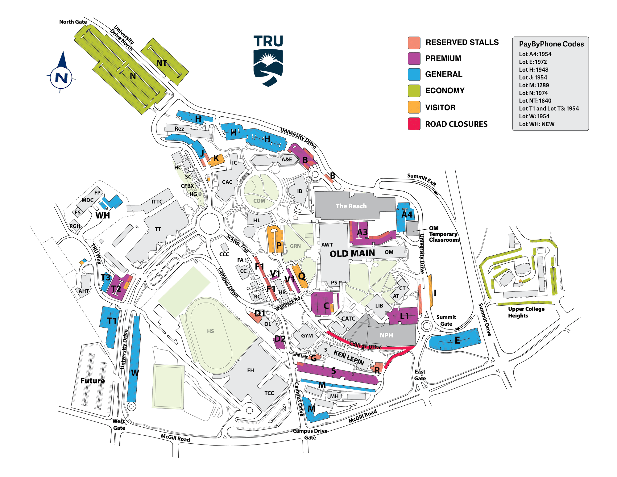 Campus Map Parking For Open House Thompson Rivers University