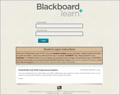 The login screen for Blackboard 9.1