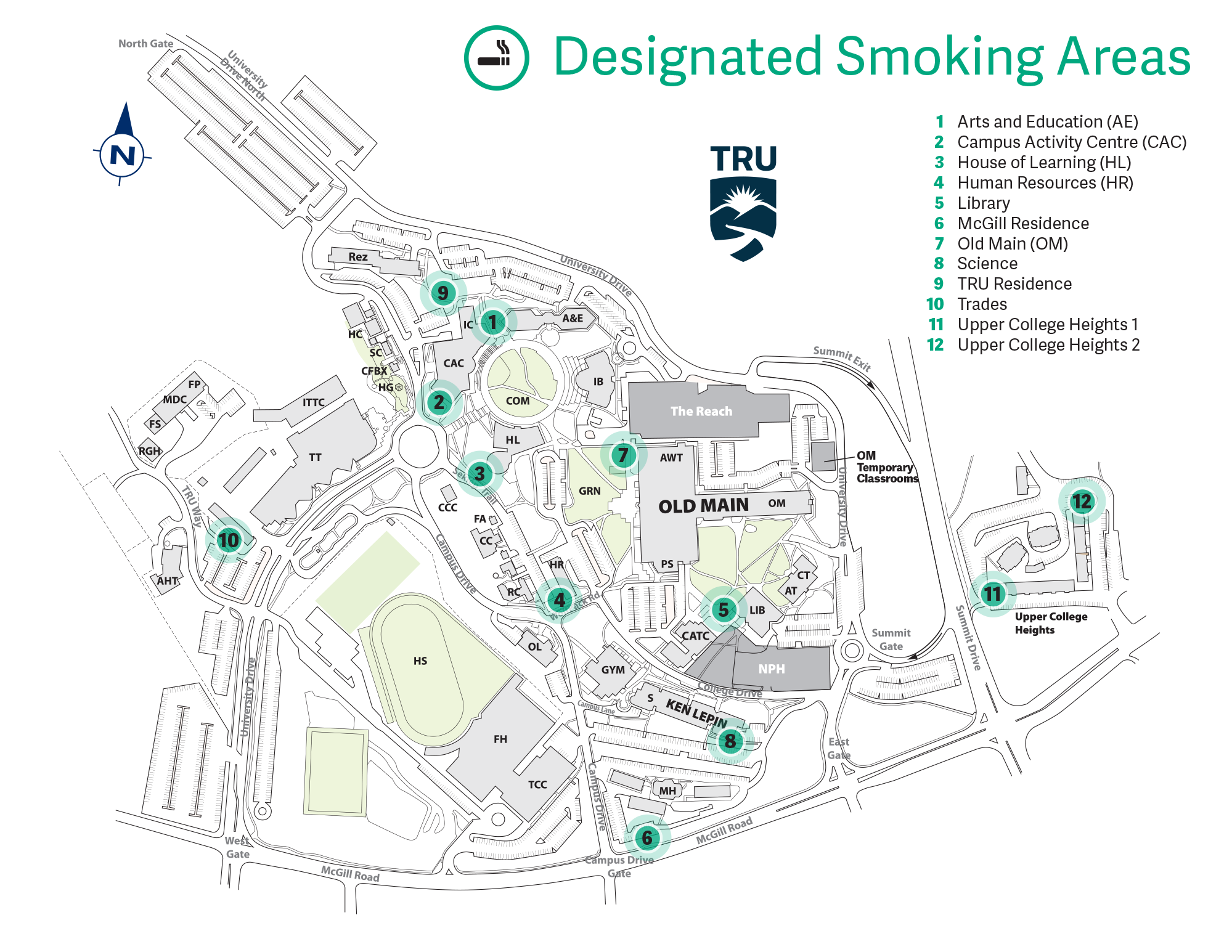 Map of designated smoking areas