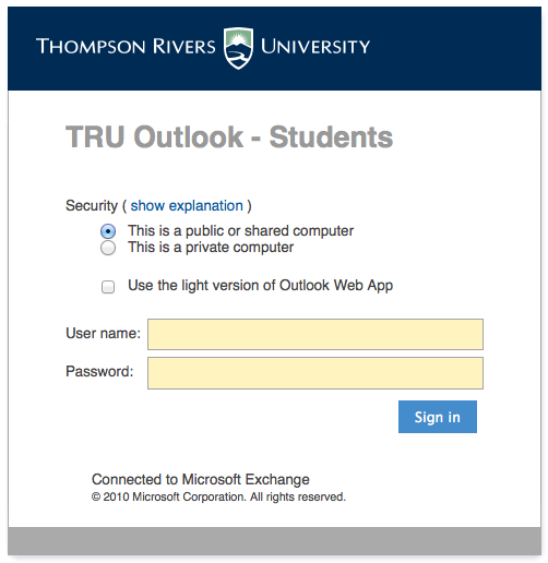 Student Outlook Web Access